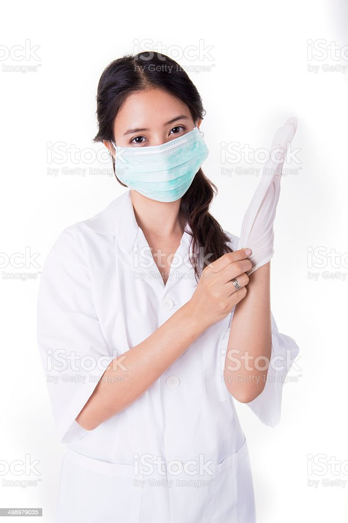 Scientists wear the gloves stock photo