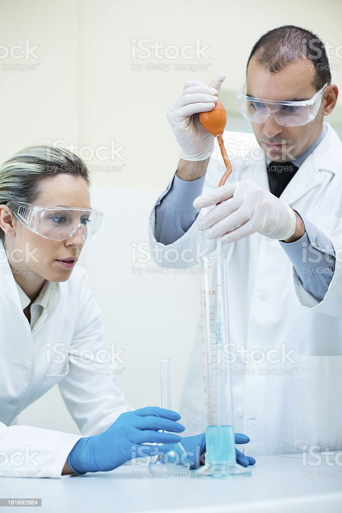 Scientists working at the laboratory royalty-free stock photo