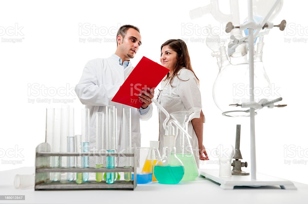 Scientists working at the laboratory series royalty-free stock photo