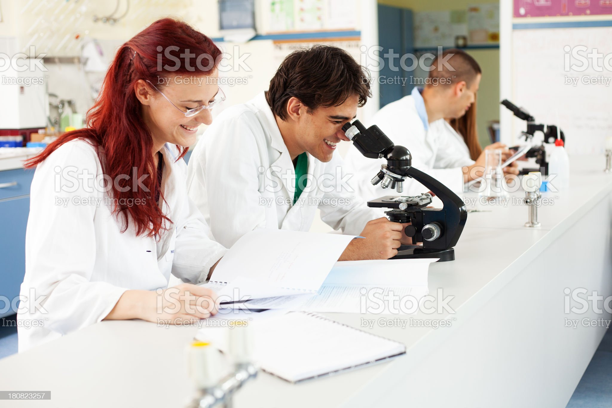 scientists working in lab royalty-free stock photo
