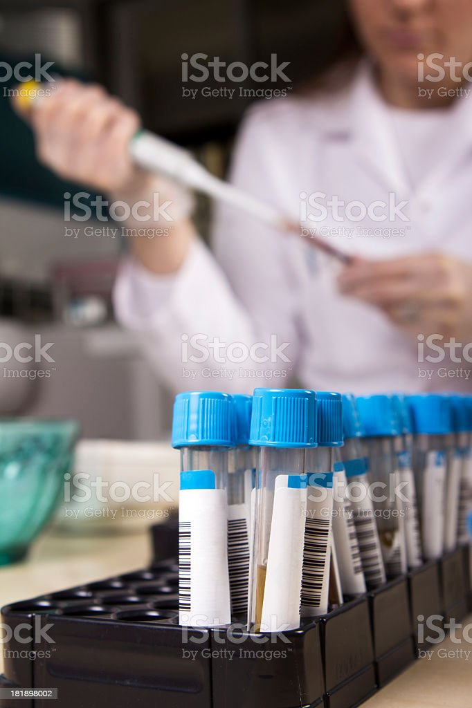 Scientists working with samples stock photo