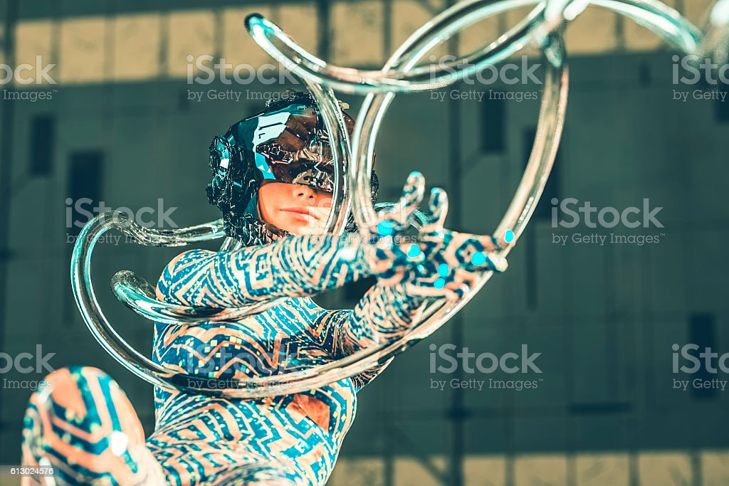Sci-fi cyborg connected with the hive stock photo