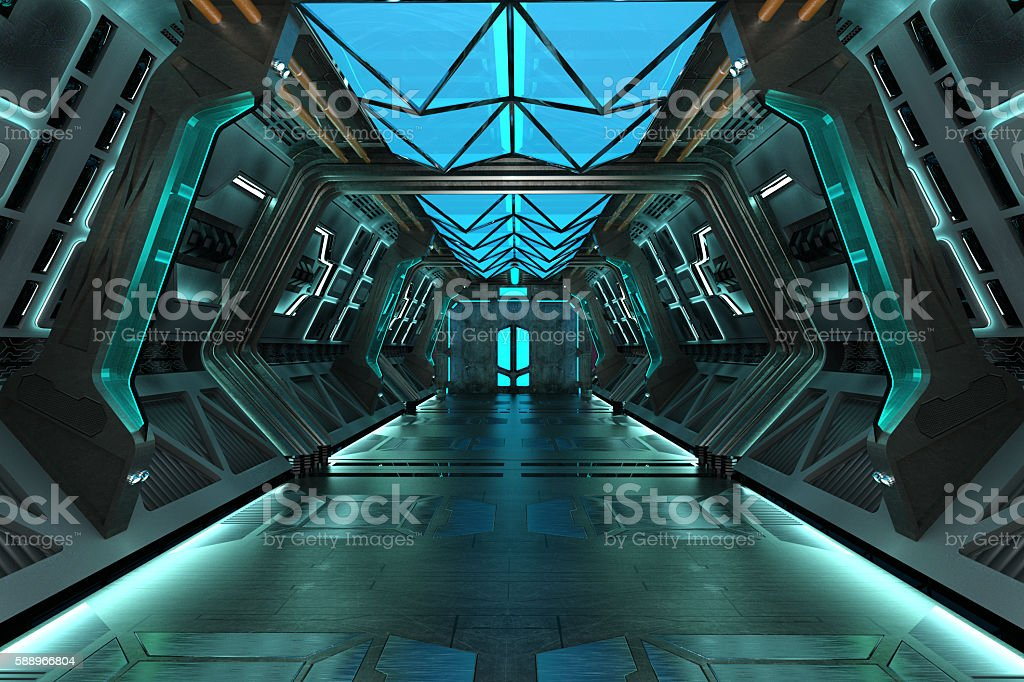 Sci-Fi grunge corridor stock photo