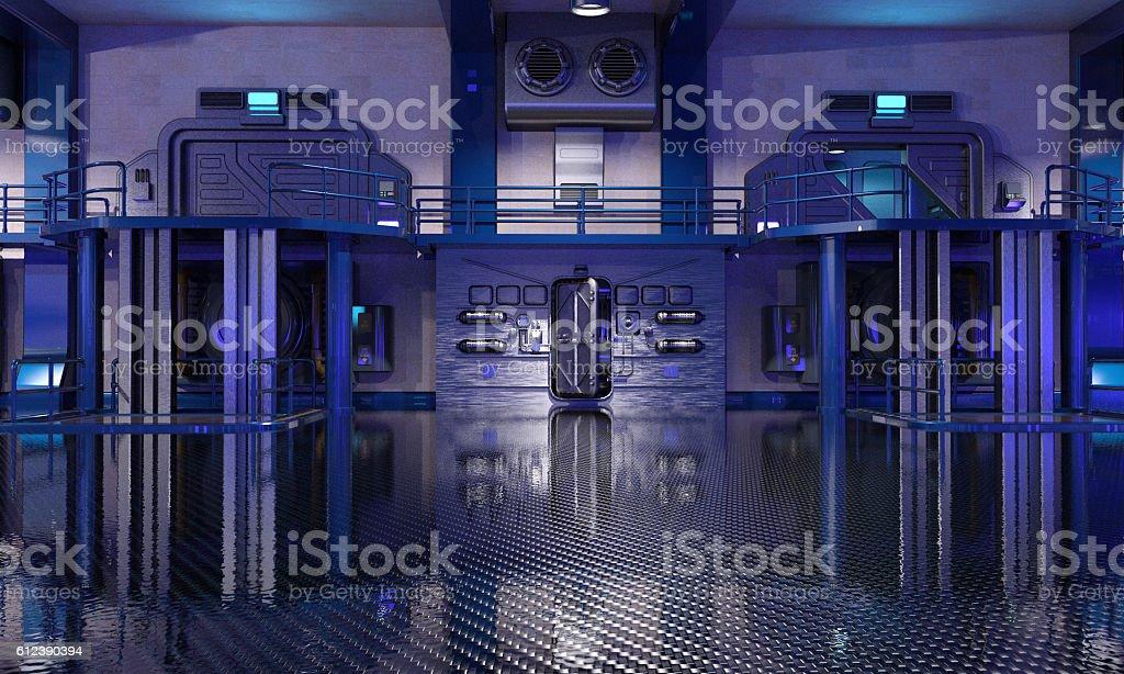 Sci-Fi hangar blue interior stock photo
