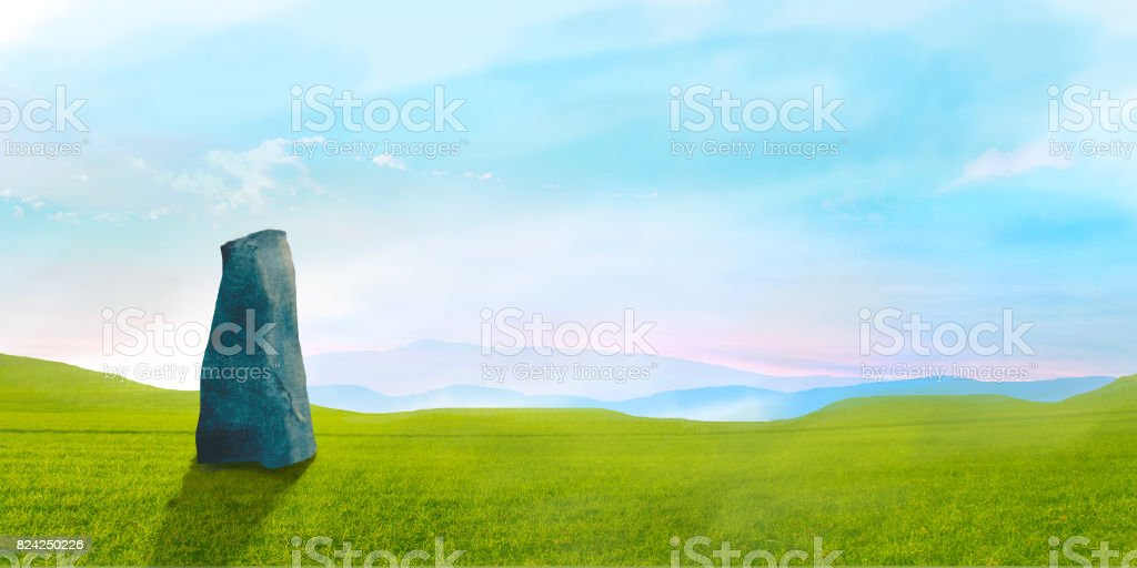 Sci-fi landscape with big stone green grass and sky, digital painting stock photo