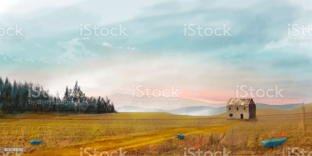 Sci-fi landscape with house, trees and sky, digital painting stock photo