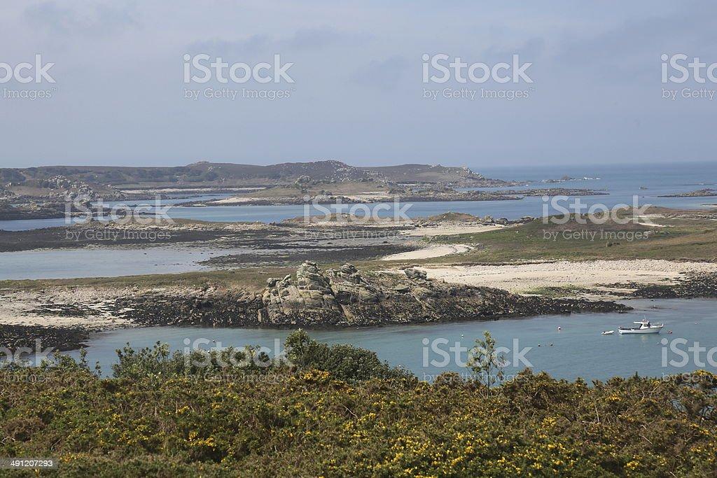 Scilly Islands Sun Sea and Rocks stock photo