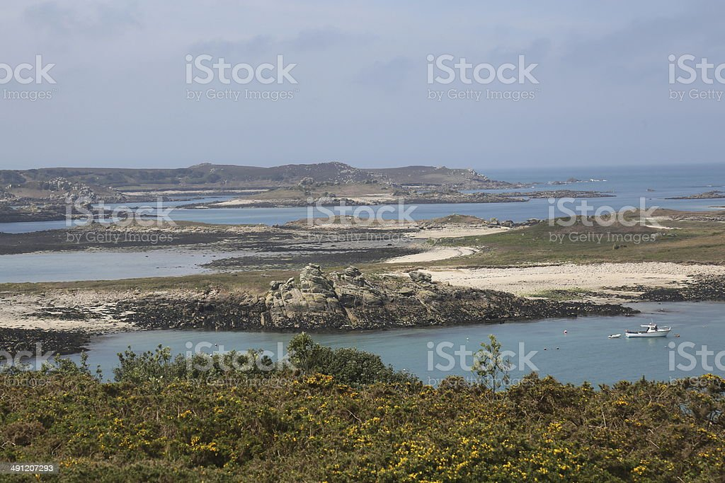 Scilly Islands Sun Sea and Rocks stock photo
