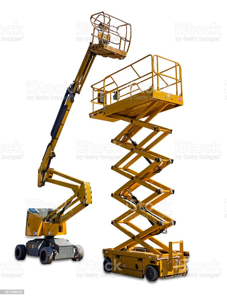 Scissor lift and articulated boom lift stock photo