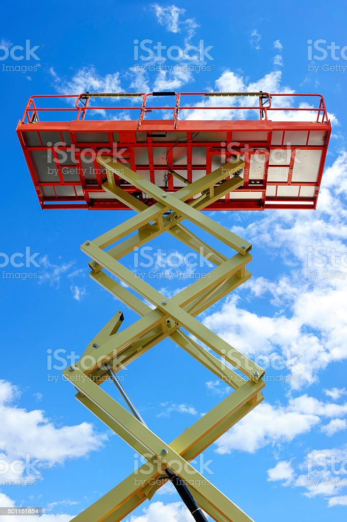 Scissor lift platform stock photo