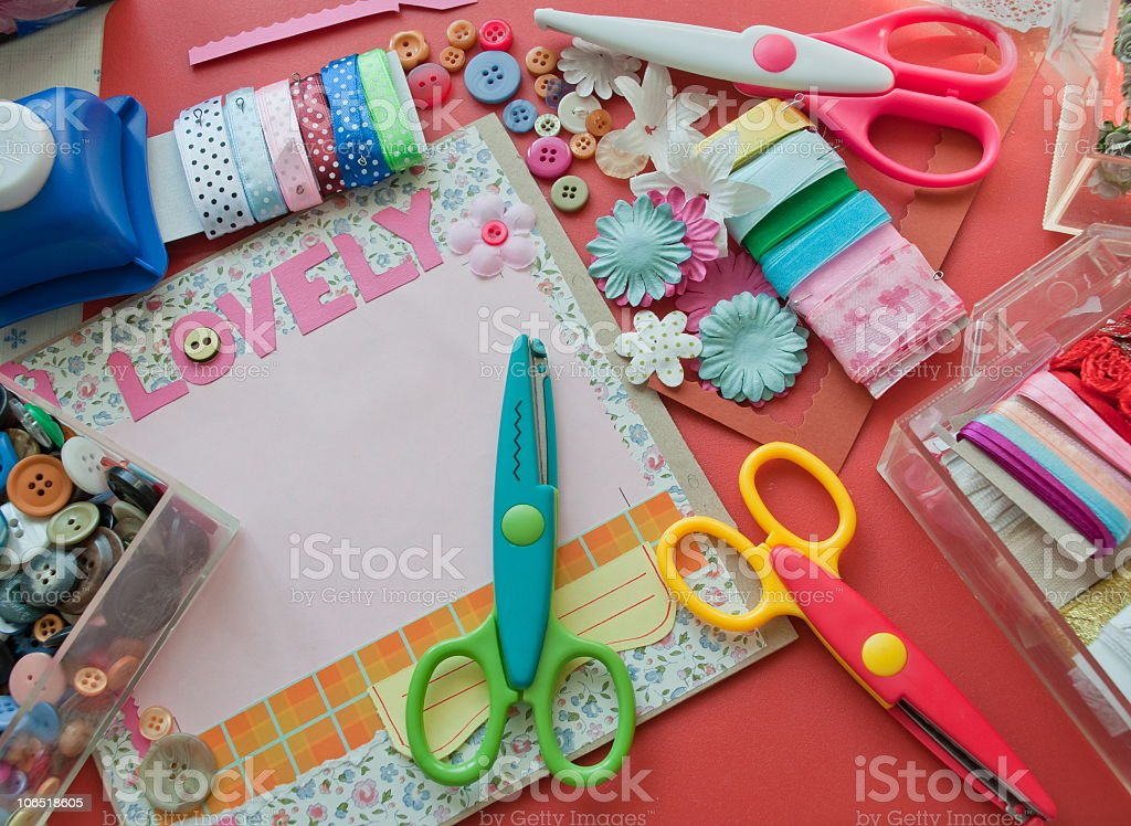 Scissors and construction paper stock photo