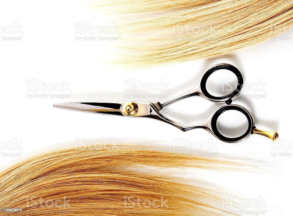 scissors and lock of hair stock photo