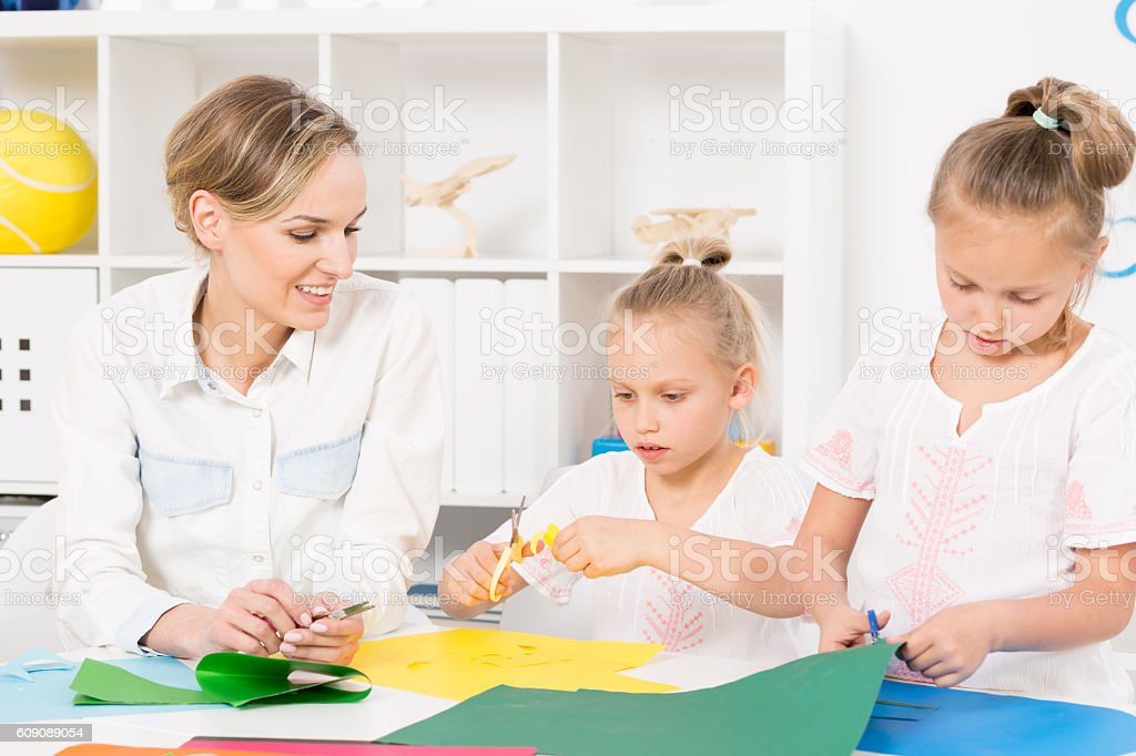 Scissors and paper equals good fun stock photo