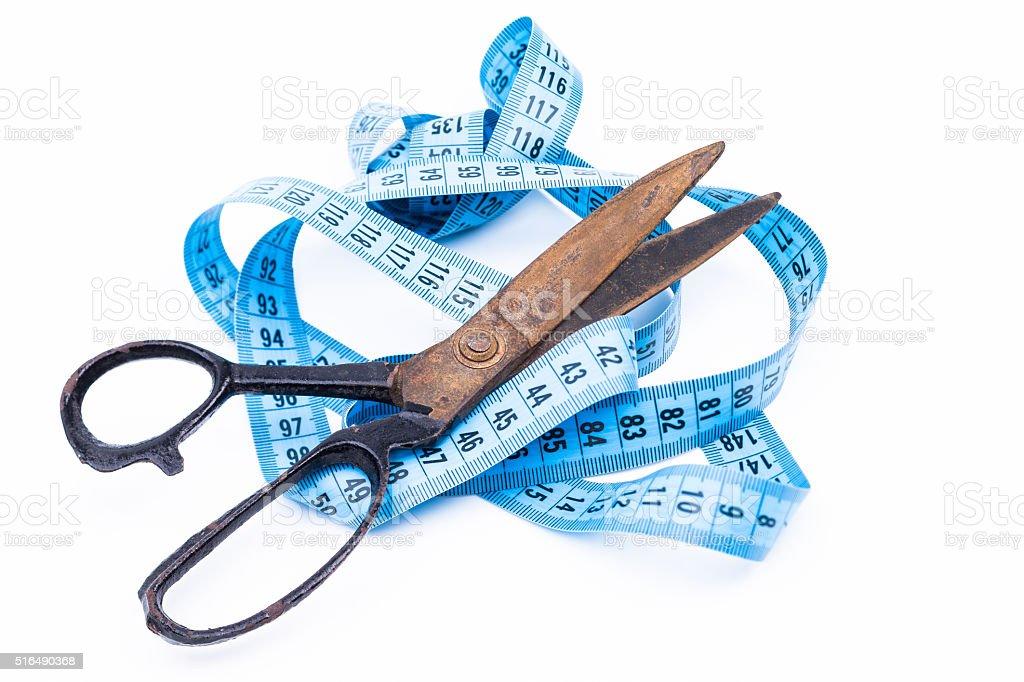 Scissors and tape stock photo