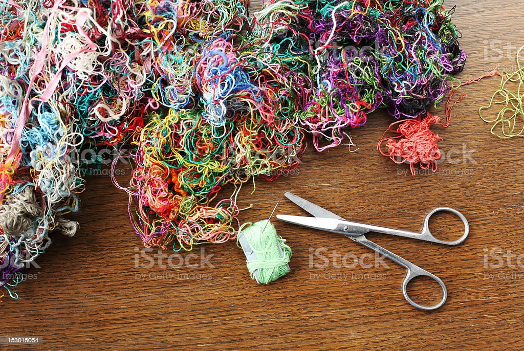 scissors and threads royalty-free stock photo