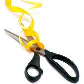 Scissors and yellow ribbon