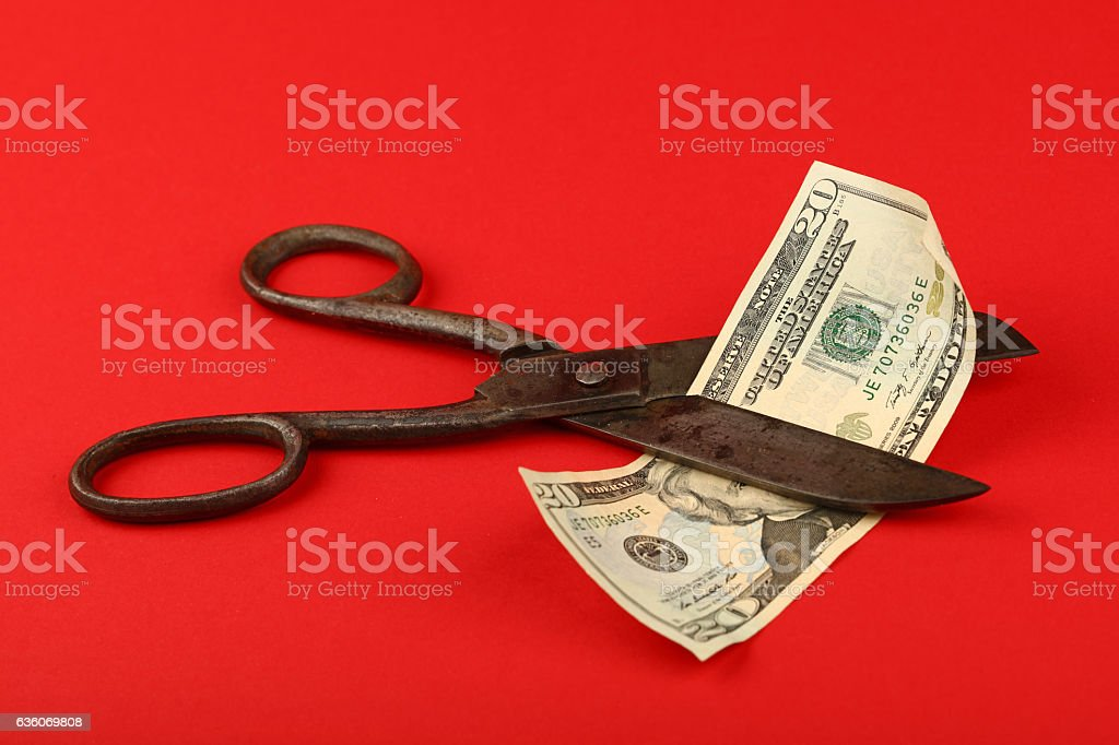 Scissors cut US dollars over red background stock photo