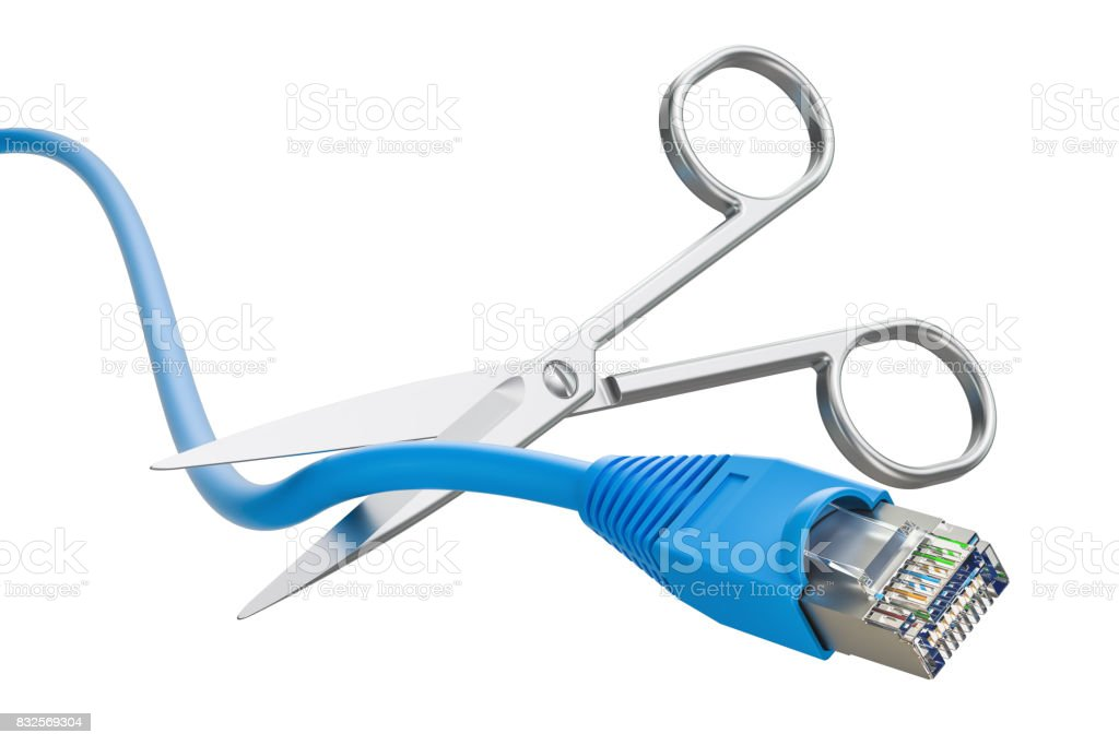 Scissors cutting lan network computer cable, 3D rendering stock photo