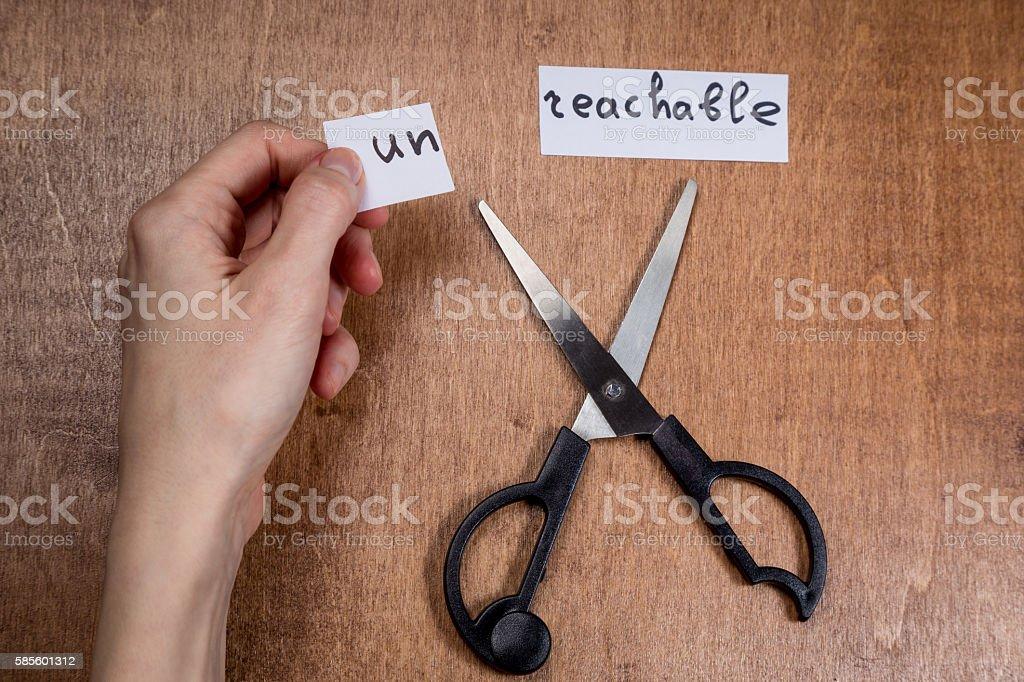 Scissors cutting negative label, self motivation concept stock photo