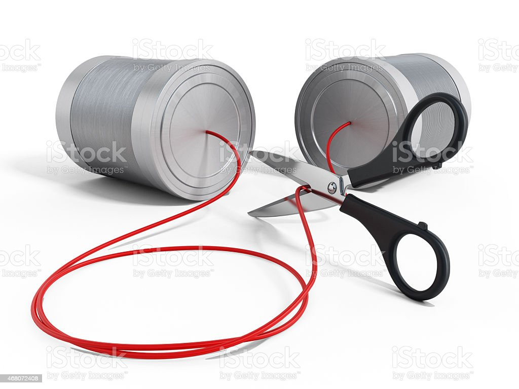 Scissors cutting the communication string stock photo