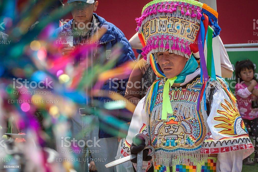 Scissors dance performer at Mistura Festival stock photo