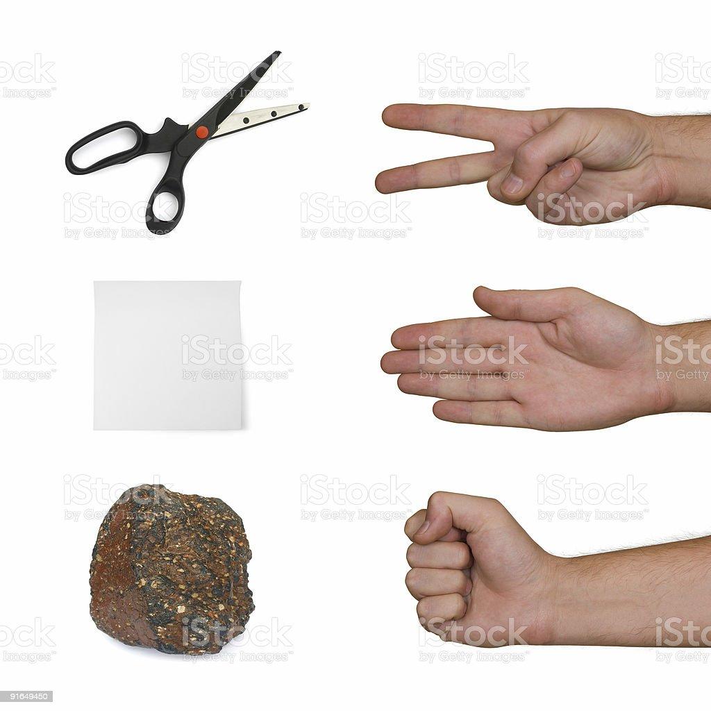 Scissors, paper, stone stock photo