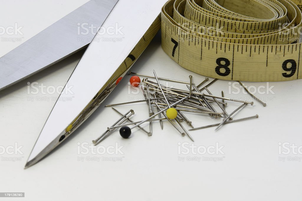 Scissors, Pins and Measuring Tape royalty-free stock photo