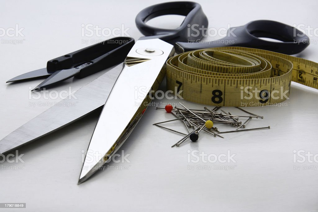 Scissors, Pins and Measuring Tape-Horzontal royalty-free stock photo