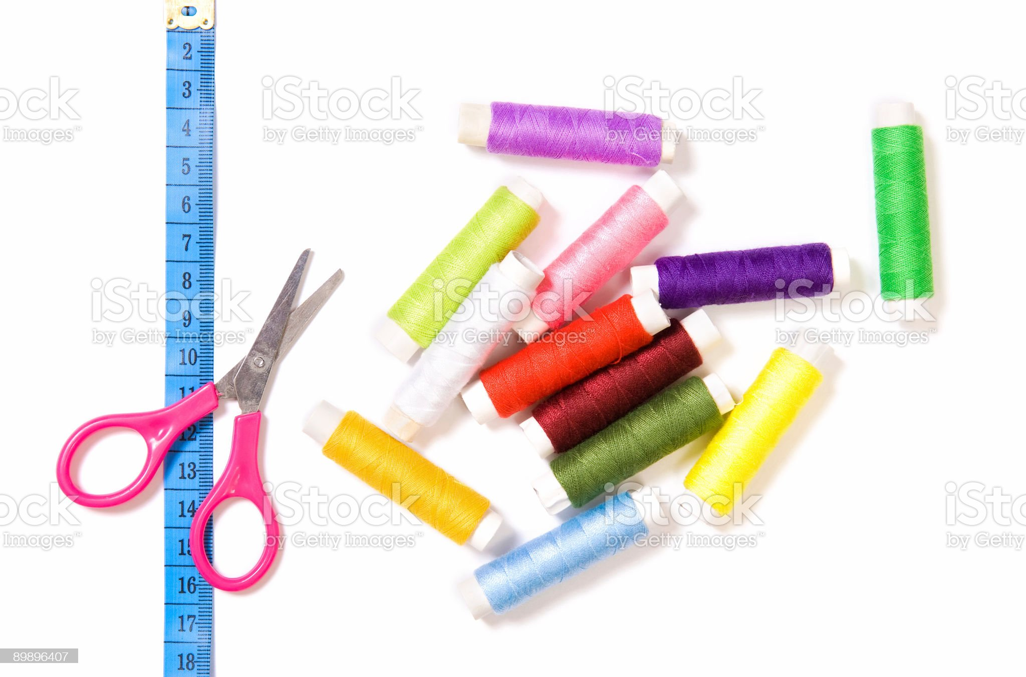 Scissors, sewing and ruler royalty-free stock photo