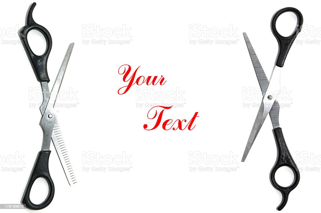 Scissors text space royalty-free stock photo