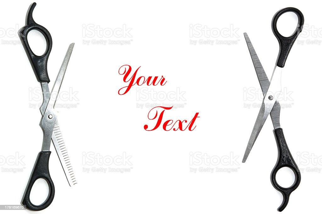 Scissors text space stock photo