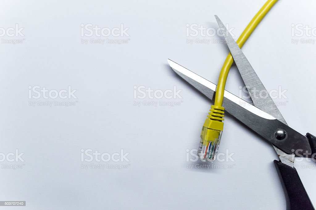 Scissors/Blades Cutting a Network/Data Ethernet Cable Overhead View royalty-free stock photo