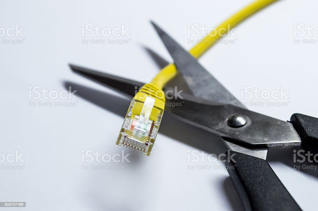 Scissors/Blades Cutting a Network/Data Ethernet Cable royalty-free stock photo