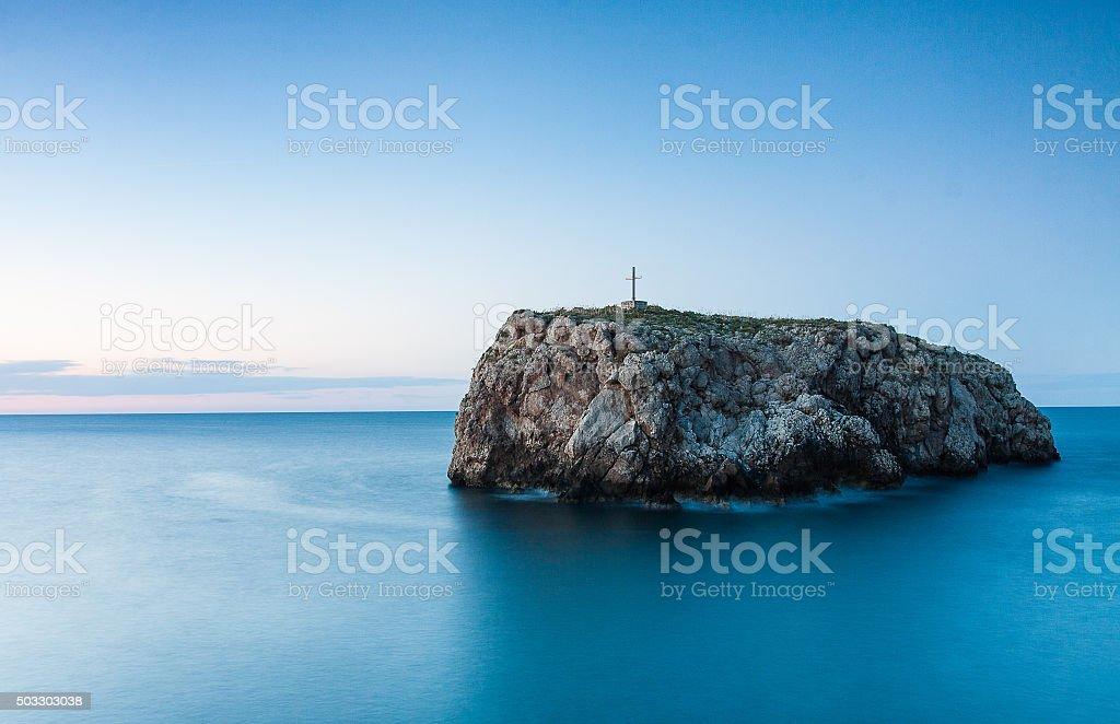 Scoglio dell'eremita, polignano a mare in puglia stock photo