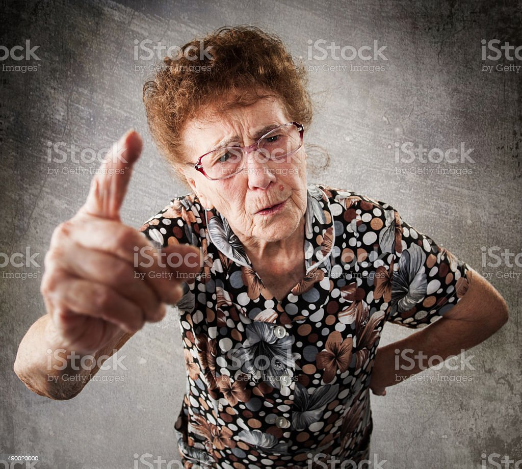 Scolded the old woman stock photo