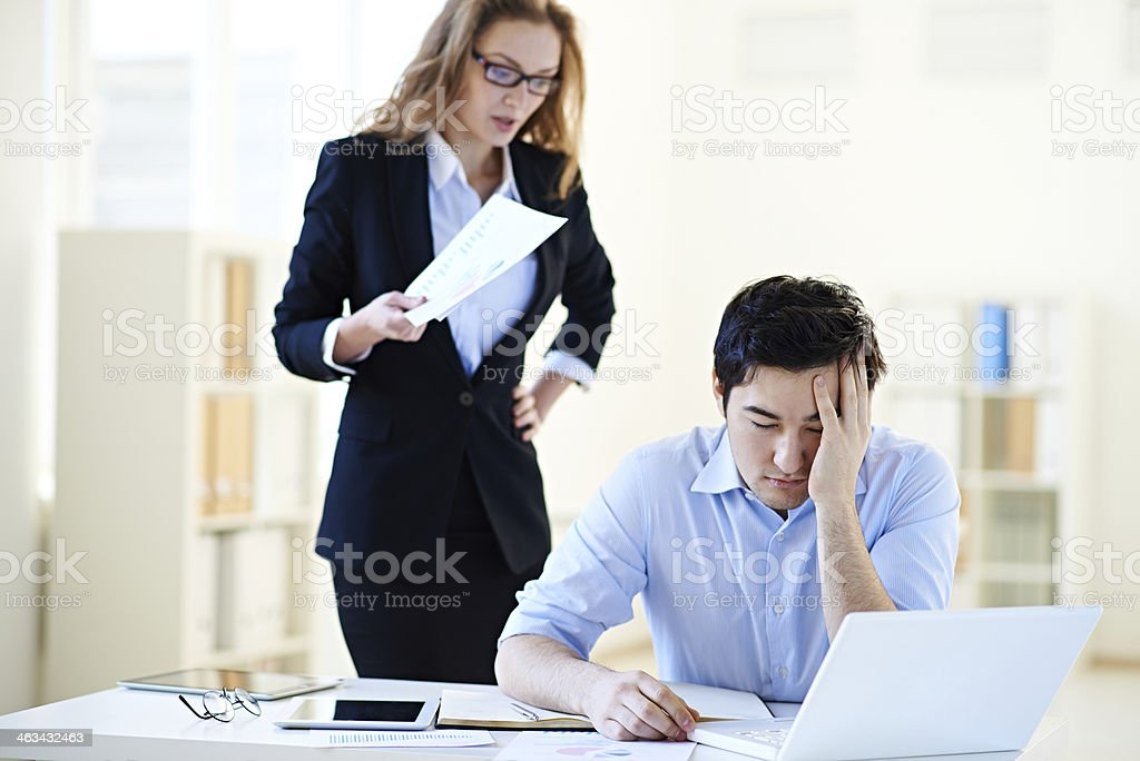 Scolding from female boss stock photo