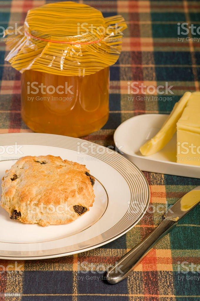 Scone and marmalade stock photo