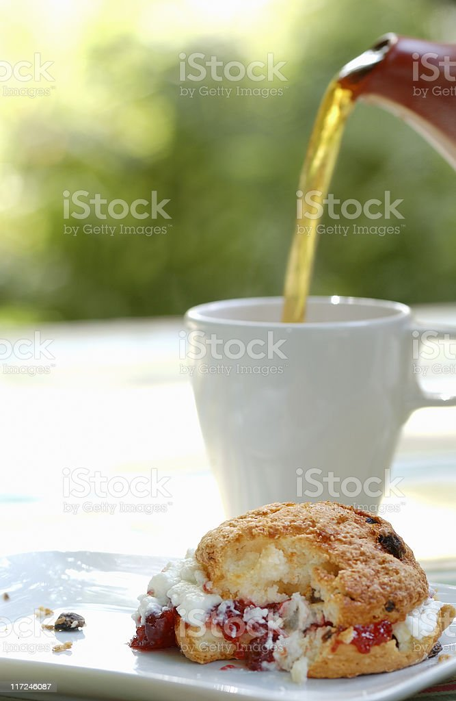 Scone and tea royalty-free stock photo