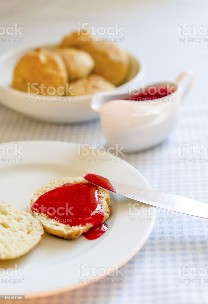 scone with redcurrant jam royalty-free stock photo