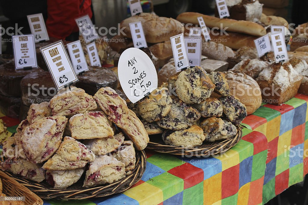 Scones and Bread at Bakery Stall at Food Market stock photo