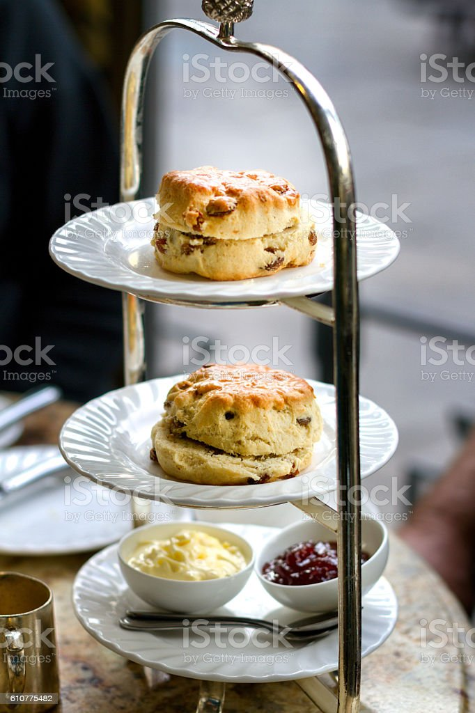 Scones, Clotted Cream and Jam for High Tea stock photo