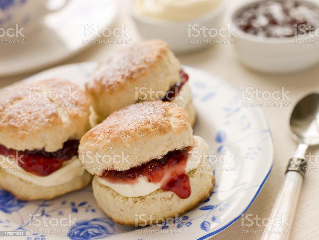 Scones Tea Clotted Cream and Jam stock photo