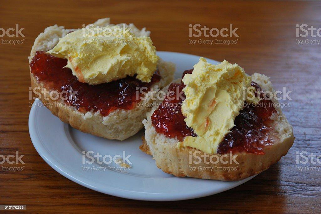 Scones with Cream and Jam stock photo