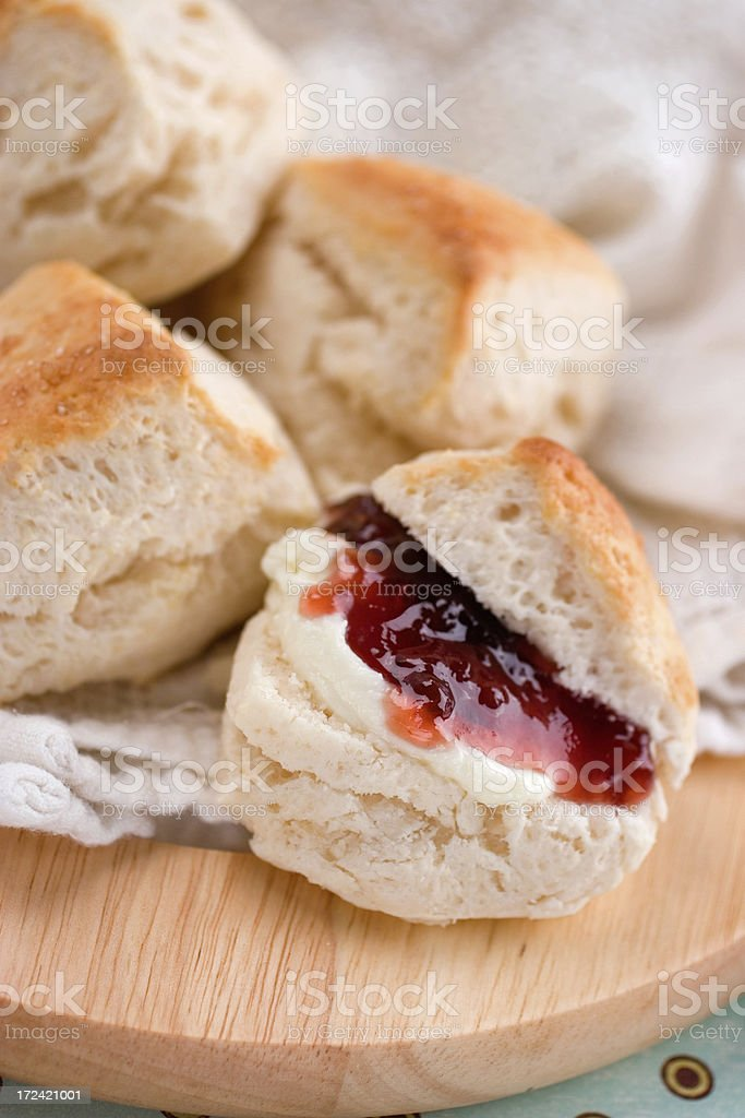 Scones with Double Devonshire and Preserves stock photo