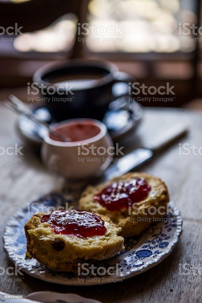 Scones with jam stock photo