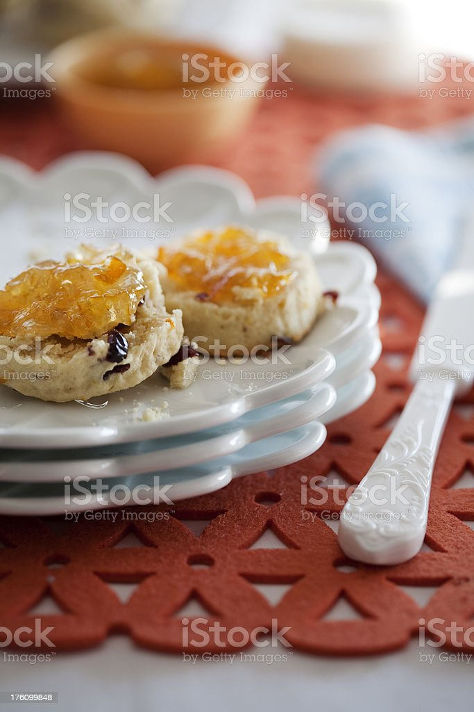 Scones with Marmalade stock photo