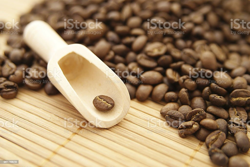 Scoop for coffee grains stock photo