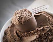 Scoop of chocolate flavor protein powder