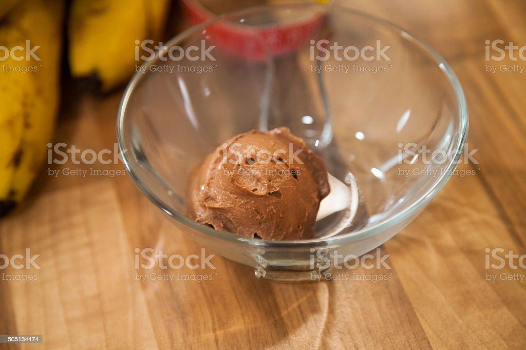 Scoop of chocolate ice cream. stock photo