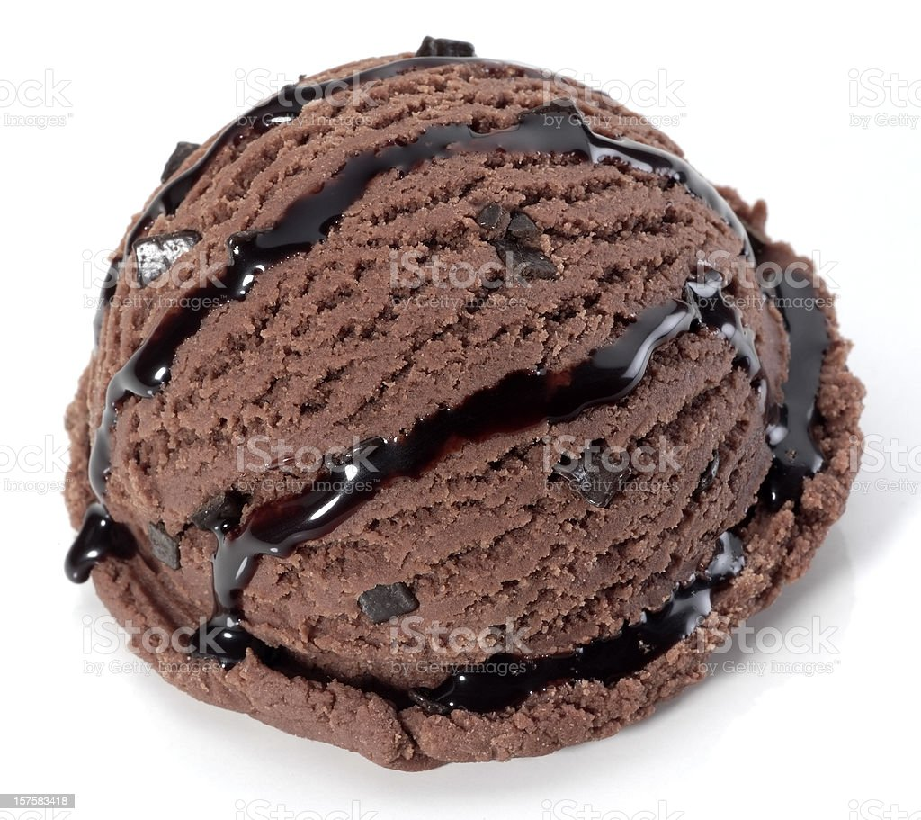 Scoop of chocolate ice cream with chocolate sauce stock photo